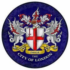 City Of London Coat Of Arms George Cross Shield Round Metal/Steel Wall Sign