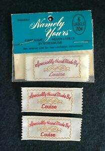 """8 Vintage Woven Labels """"Specially Hand Made by Louise"""", Package of 6, Plus 2"""