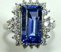 Tanzanite Ring Halo 18K White Gold Natural AAA+ GIA Insured Heirloom App $14,563