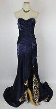 NWT $400 TERANI Navy Long Junior Cocktail Prom Size 0 Formal Gown Dress USA
