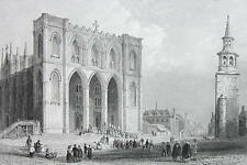 CANADA Cathedral of Montreal Exterior View - Steel Engraving Print