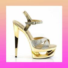 SIZE 2 PLEASER ECLIPSE 619 GOLD CHROME GLITTER POLEDANCING PLATFORM HEELS MOON