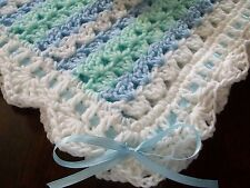 NEW Handmade Crochet Baby Blanket Afghan ( white green blue ) Newborn