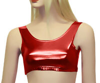 Girls Kids Dance Gym School Shiny Plain Tank Crop Top Sleeveless Age 5-11 Black