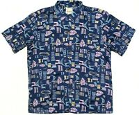 Reyn Spooner Mens Vtg 2XL Short Sleeve Button Up Hawaiian Shirt Navy Blue EUC