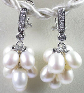 STERLING SILVER  Bridal Wedding Dangle Earrings with 8 Pearls Fine Jewelry
