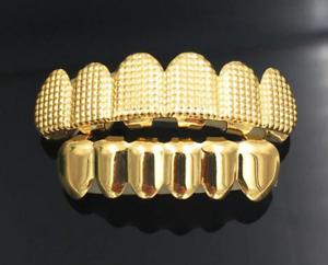 Gold Plated Hip Hop Teeth Set 18K White Gold 24K Mouth Caps Lattice Shape Grillz