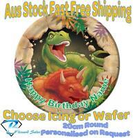 20cm Round Dinosaur Edible Image Icing or Wafer Cake Topper Kids Birthday