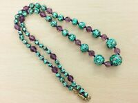 ANTIQUE GREEN FOIL & AMETHYST GLASS BEAD NECKLACE 1920