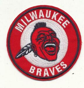 "3""  Milwaukee Braves Embroidered Iron On Patch  (1953-1965)  1957 World Champs"