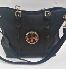 TORY BURCH large Black Bag  Shoulder bag Cross-body with Gold logo RARE
