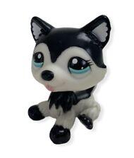 Littlest Pet Shop LPS Husky #2246 Black and White Dog Blue Eyes