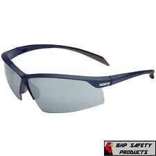 4a586f8ce3e9 NORTH BY HONEYWELL RELENTLESS SAFETY GLASSES NAVY FRAME SILVER MIRROR LENS  A1203