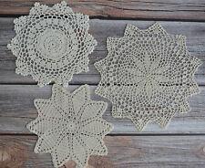 Set 3 Crochet Doilies Lot Country Wedding Ecru Table Runners Dreamcatchers