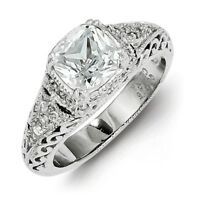 Ladies 925 Sterling Silver Polished Cushion Cut CZ Ring Size 6 - 8