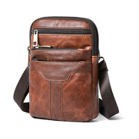1X Brown Mens Leather Shoulder Bag Hook Belt Hip Bum Waist Bag Cell Phone Wallet