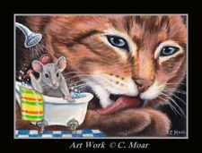 Tabby Bengal Cat Washing Paw Mouse Mice Bath ACEO Limited Edition mini Art Print