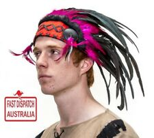 Native American Indian Headdress purple and black Feather Bonnet small & cool...