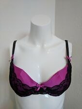 Ann Summers Purple & Black Bra & Thong Set 32B/Size 8