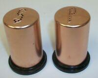Vintage Mid Century Copper Color Metal & Black Plastic Salt and Pepper Shakers