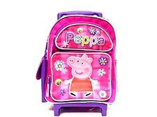 """Peppa Pig With Flowers Allover 16"""" Rolling Backpack-Peppa Roller Backpack-New!"""