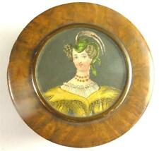 ANTIQUE GEORIGIAN BURL WOOD LINED SNUFF BOX WITH PORTRAIT OF A LADY