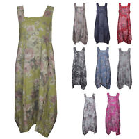 Womens Fade Floral Italian Lagenlook Long Boho Pocket Linen Ladies Tunic Dress