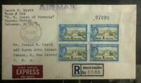 1952 Nassau Bahamas Airmail Express Cover To Camden NJ USA Right Corner Block