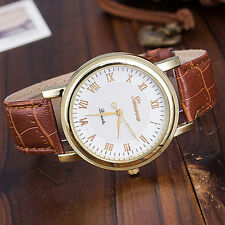 Fashion Gold Tone Geneva Quartz White Faced Roman Numeral Brown Band Wrist Watch