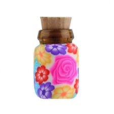 5 PCS Mini Glass Polymer Clay Bottle Container Vial With Cork Collectible