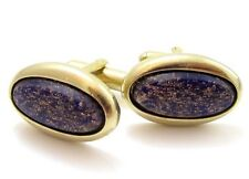 Copper Sparkle Blue Glass Faux Lapis Snazzy Vintage Gold Plated Cufflinks 251D