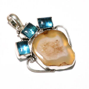 Geode Druzy Blue Topaz Gemstone 925 Sterling Silver Jewelry VP-4 Pendant