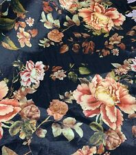 Black & Peach Peony Floral - Stretch Polyester Taffeta Fabric