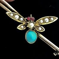 VICTORIAN PRECIOUS BROOCH INSECT RUBIES TURQUOISE NAT SEED PEARLS GOLD PIN
