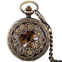 Retro Steampunk Skeleton Windup Mechanical Pocket Watch Fob Chain Pendant Mens