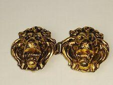 Antique Vintage Double 2 Lions Head Belt Buckle Gold Tone