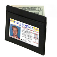 BLACK MEN'S LEATHER THIN Slim Wallet Small Money Credit Card ID Badge Holder