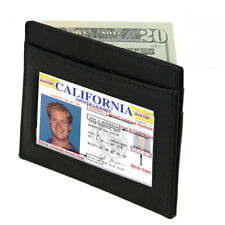 BLACK MEN'S LEATHER THIN Slim Wallet Small Money Credit Card ID Badge Holder