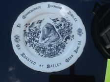 Antique Queen Victoria Diamond Jubilee Plate 1897-Ox Roasted at Batley Carr