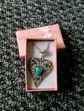 Yazilind antique Tibetan silver heart crystal turquoise pendant necklace