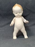 """Antique Bisque Baby Boy Doll Jointed Arms  Frozen Legs Charlotte Germany 3"""" EUC"""
