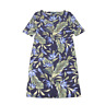 New $45 value KAREN SCOTT Petite 0/2 Blue Tropics Elbow Sleeve Boat Neck Dress