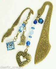 #6532 - WESTERN BOOT HORSE HEART CHARM BLUE BEADED BRONZE BOOKMARK SET