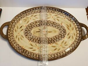 "Temptations Ovenware Old World Large Oval Platter Tray 11.5"" X 18"" Earth Tones"