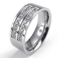 8mm Polished Stainless Steel CZ Engagement Wedding Band Men's Ring , Silver New