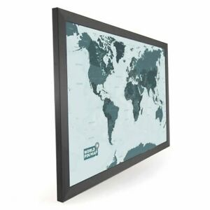 Laminated World Pinboard Map (Mono-tone) 76 x 51cm (Black Wood Frame)