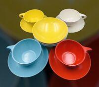 Vintage Holiday Kenro Speckled Melamine Melmac tea cups, saucer fruit bowls 11pc