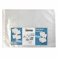 Arpan A3 landscape plastic poly punch pockets 26 wallet/sleeves clear ST-9612