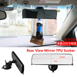 Car Rear View Mirror Interior TPU Sucker Wide Flat Clear Lens Rearview Mirror