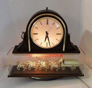 BUDWEISER BEER LIGHTED 2-SIDED CLYDESDALE TEAM & WAGON SIGN WITH CLOCK WORKS!